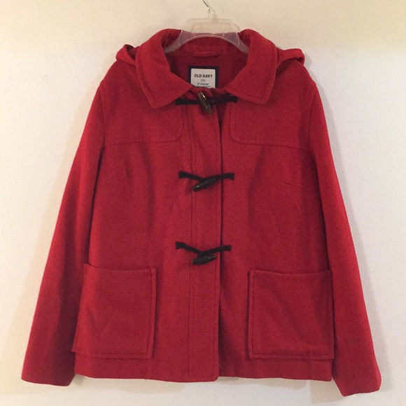 1677e3574228d Red Wool Blend Hooded Peacoat. M 5be241ab035cf134d3cc7292